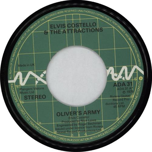 """Elvis Costello Oliver's Army - Wide-centre 7"""" vinyl single (7 inch record) UK COS07OL763194"""