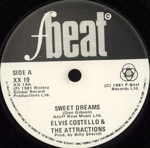 "Elvis Costello Sweet Dreams 7"" vinyl single (7 inch record) Irish COS07SW702759"