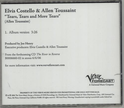 Elvis Costello Tears, Tears And More Tears CD-R acetate US COSCRTE364089