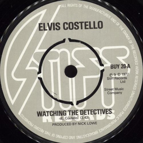 "Elvis Costello Watching The Detectives - 4pr + p/s 7"" vinyl single (7 inch record) UK COS07WA102571"