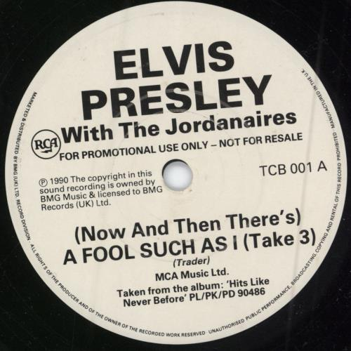 "Elvis Presley (Now And Then There's) A Fool Such As I (Take 3) 7"" vinyl single (7 inch record) UK ELV07NO638614"