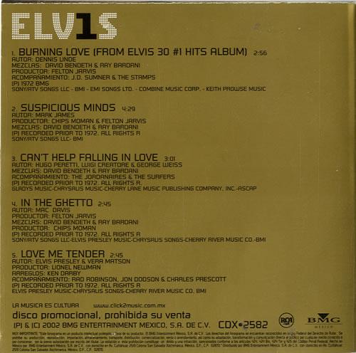 "Elvis Presley 30 #1 Hits Sampler CD single (CD5 / 5"") Mexican ELVC5HI226366"