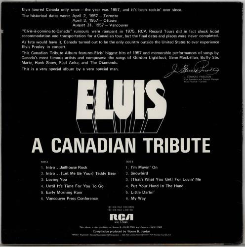 Elvis Presley A Canadian Tribute - Gold Vinyl vinyl LP album (LP record) US ELVLPAC764937