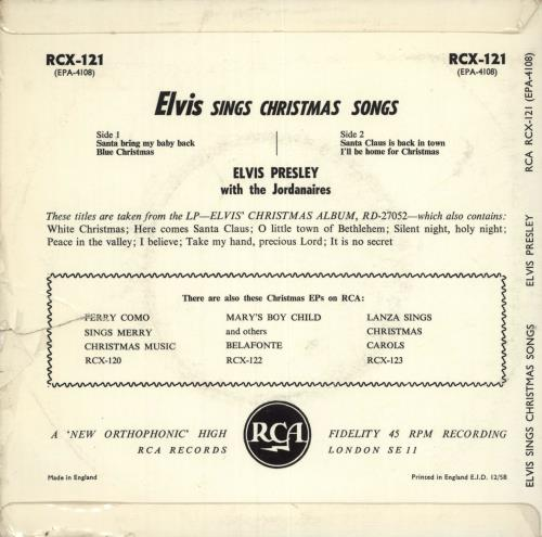 "Elvis Presley A Merry Christmas EP - 12/58 - VG 7"" vinyl single (7 inch record) UK ELV07AM471967"