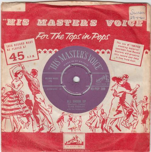 "Elvis Presley All Shook Up - 2nd 7"" vinyl single (7 inch record) UK ELV07AL212345"