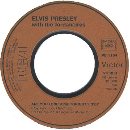 """Elvis Presley Are You Lonesome Tonight? 7"""" vinyl single (7 inch record) French ELV07AR372361"""