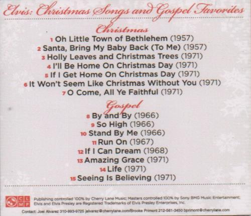 Elvis Presley Christmas Songs And Gospel Favorites CD album (CDLP) US ELVCDCH433884