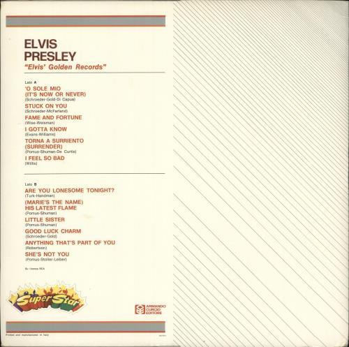 Elvis Presley Elvis' Golden Records vinyl LP album (LP record) Italian ELVLPEL718788