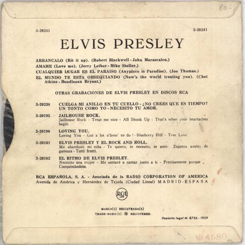 "Elvis Presley Elvis 7"" vinyl single (7 inch record) Spanish ELV07EL707586"
