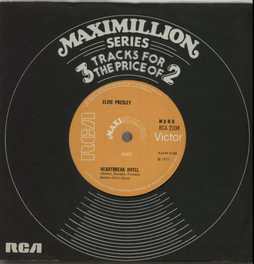 "Elvis Presley Heartbreak Hotel - Solid 7"" vinyl single (7 inch record) UK ELV07HE599092"