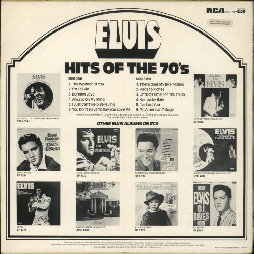 Elvis Presley Hits Of The 70's - 1st vinyl LP album (LP record) UK ELVLPHI718982