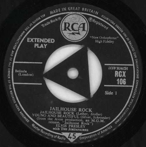 """Elvis Presley Jailhouse Rock EP - 58.9 7"""" vinyl single (7 inch record) UK ELV07JA723201"""