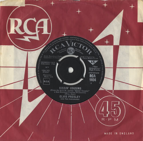 """Elvis Presley Kissin' Cousins - Master Recording Label 7"""" vinyl single (7 inch record) UK ELV07KI241309"""