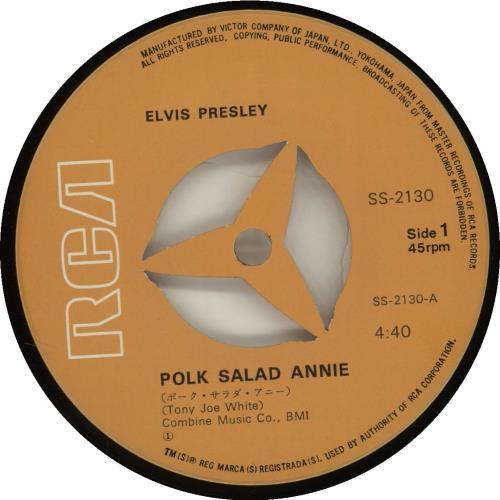 "Elvis Presley Polk Salad Annie 7"" vinyl single (7 inch record) Japanese ELV07PO184091"