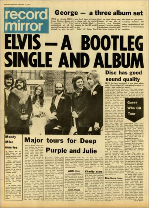 Elvis Presley Record Mirror - November 1970 magazine UK ELVMARE493366