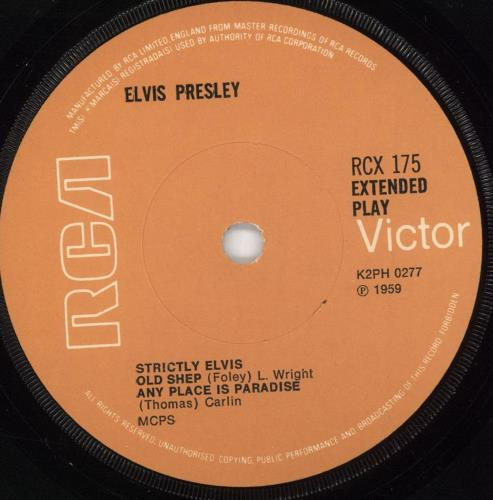"Elvis Presley Strictly Elvis EP - 7th - solid 7"" vinyl single (7 inch record) UK ELV07ST721380"