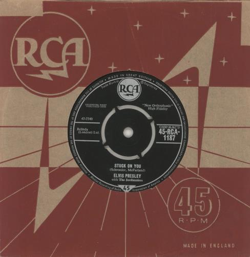 "Elvis Presley Stuck On You - 1st - Belinda [London] Credit 7"" vinyl single (7 inch record) UK ELV07ST343192"