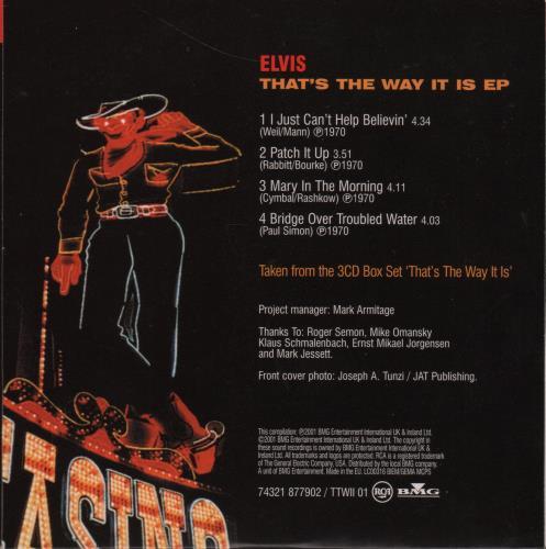 "Elvis Presley That's The Way It Is EP CD single (CD5 / 5"") UK ELVC5TH647130"