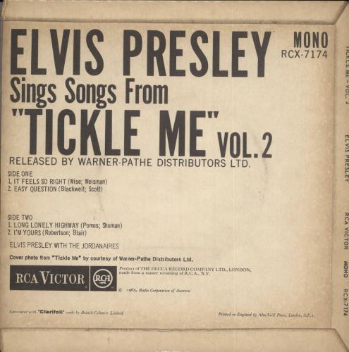 "Elvis Presley Tickle Me Vol.2 EP - EX 7"" vinyl single (7 inch record) UK ELV07TI580194"