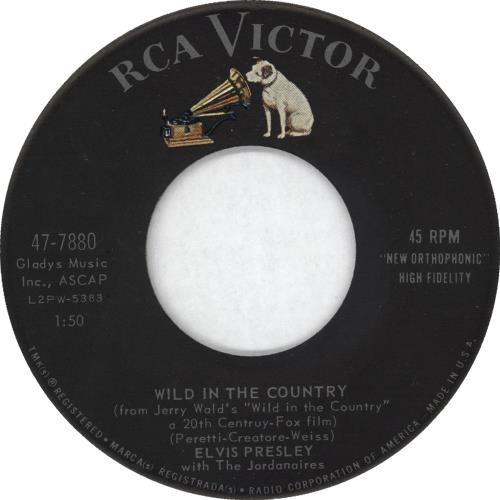 "Elvis Presley Wild In The Country 7"" vinyl single (7 inch record) US ELV07WI723184"