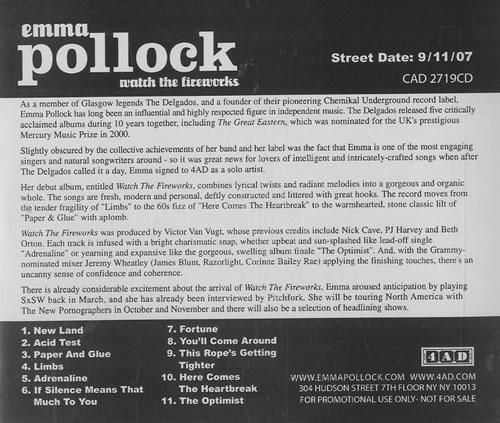 Emma Pollock Watch The Fireworks CD album (CDLP) US EMKCDWA460245