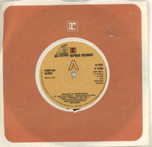 "Emmylou Harris Boulder To Birmingham 7"" vinyl single (7 inch record) UK ELH07BO712729"