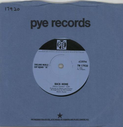 "England Football Squad Back Home - Solid 7"" vinyl single (7 inch record) UK EGF07BA605800"