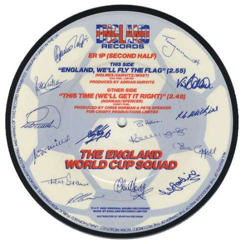 """England Football Squad This Time (We'll Get It Right) 7"""" vinyl picture disc 7 inch picture disc single UK EGF7PTH113451"""