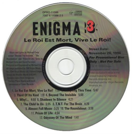 Enigma Le Roi Est Mort Vive Le Roi Us Promo Cd Album