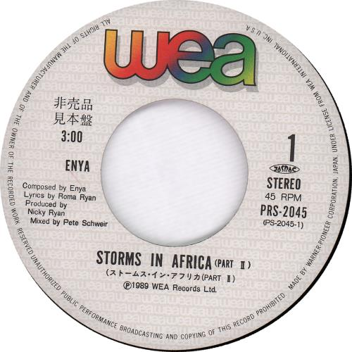 """Enya Storms In Africa + Insert 7"""" vinyl single (7 inch record) Japanese ENY07ST118377"""
