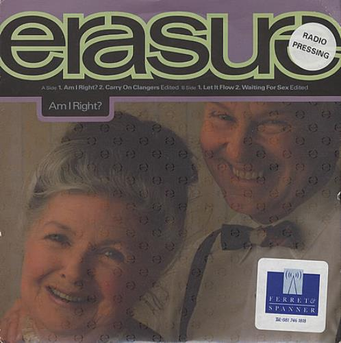 "Erasure Am I Right? + PR sheet 7"" vinyl single (7 inch record) UK ERA07AM00352"