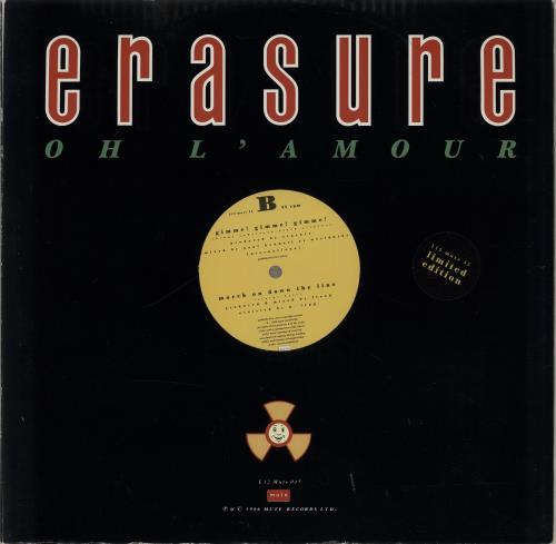 "Erasure Oh L'amour - Stickered sleeve 12"" vinyl single (12 inch record / Maxi-single) UK ERA12OH02591"