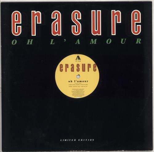 "Erasure Oh L'amour 12"" vinyl single (12 inch record / Maxi-single) UK ERA12OH707098"