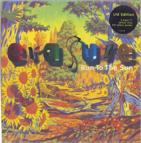 "Erasure Run To The Sun - Yellow Vinyl + Poster 7"" vinyl single (7 inch record) UK ERA07RU30627"