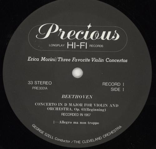 Erica Morini Three Favorite Violin Concertos 2-LP vinyl record set (Double Album) Japanese ZRT2LTH717140