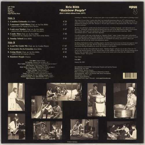 Eric Bibb Rainbow People - 180 Gram vinyl LP album (LP record) German EBILPRA706972