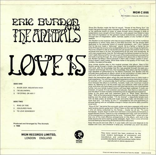 Eric Burdon Amp The Animals Love Is Uk Vinyl Lp Album Lp