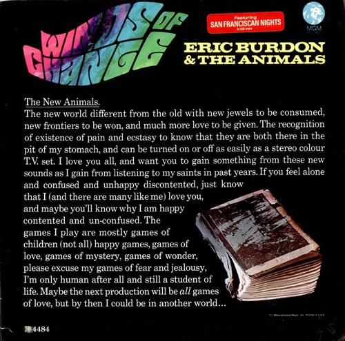 Eric Burdon Amp The Animals Winds Of Change Us Vinyl Lp