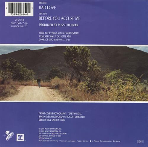 "Eric Clapton Bad Love 7"" vinyl single (7 inch record) German CLP07BA45400"