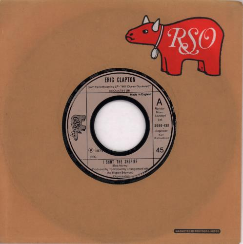 """Eric Clapton I Shot The Sheriff - Wide-centre 7"""" vinyl single (7 inch record) UK CLP07IS674345"""