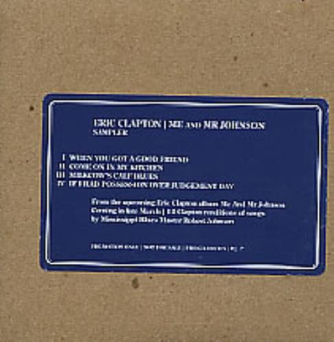 "Eric Clapton Me And Mr Johnson Sampler CD single (CD5 / 5"") US CLPC5ME281670"