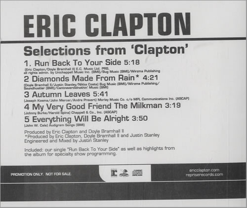 "Eric Clapton Selections From Clapton CD single (CD5 / 5"") US CLPC5SE520409"