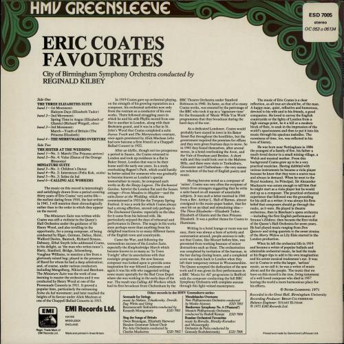 Eric Coates Eric Coates Favourites vinyl LP album (LP record) UK ES5LPER764721