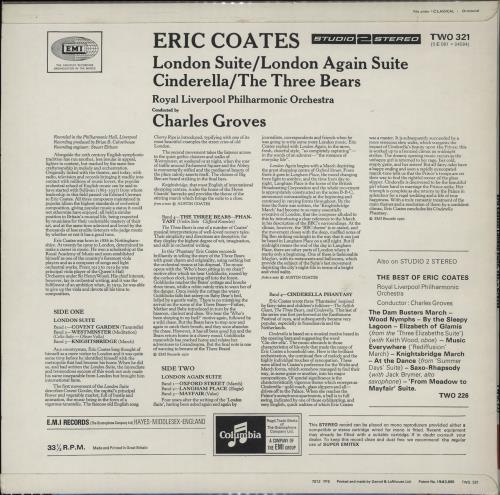 Eric Coates London Suite / London Again Suite / Cinderella / The Three Bears vinyl LP album (LP record) UK ES5LPLO762037