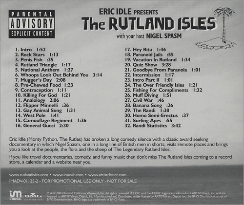 Eric Idle The Rutland Isles CD album (CDLP) US ECICDTH466054