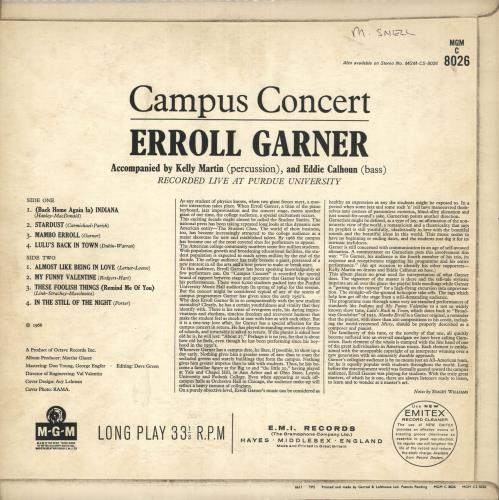 Erroll Garner Campus Concert - Mono vinyl LP album (LP record) UK EA7LPCA730913