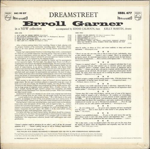 Erroll Garner Dreamstreet vinyl LP album (LP record) UK EA7LPDR583860