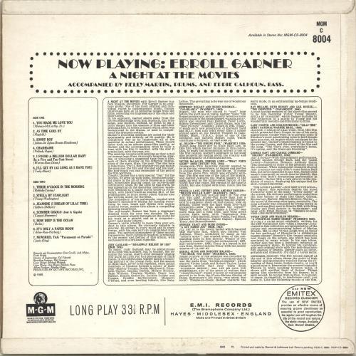 Erroll Garner Now Playing - Erroll Garner - A Night At The Movies vinyl LP album (LP record) UK EA7LPNO695022