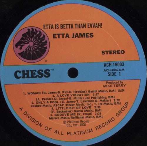 Etta James Etta Is Betta Than Evvah vinyl LP album (LP record) US ETTLPET697612