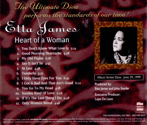 Etta James Heart Of A Woman CD album (CDLP) US ETTCDHE518124